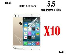 For Iphone 6 Plus 5.5″ Without Retail Package10pcs Clear Screen Protector Cover, Front and Back Screen Protector Film