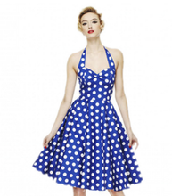 Women Summer Ball Gown Dress Vintage Retro Dot Sleeveless Off The Shoulder V-neck Knee-Length Zippers Vestidos Vestido De Festa