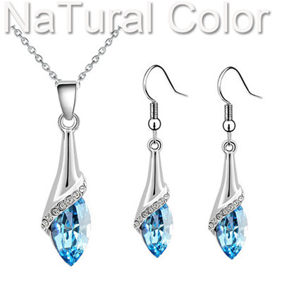 angel eyes tear water drop brithday gifts wedding bridal 18KGP Austrian Crystal Pendant Necklace earrings jewelry sets s11(China (Mainland))
