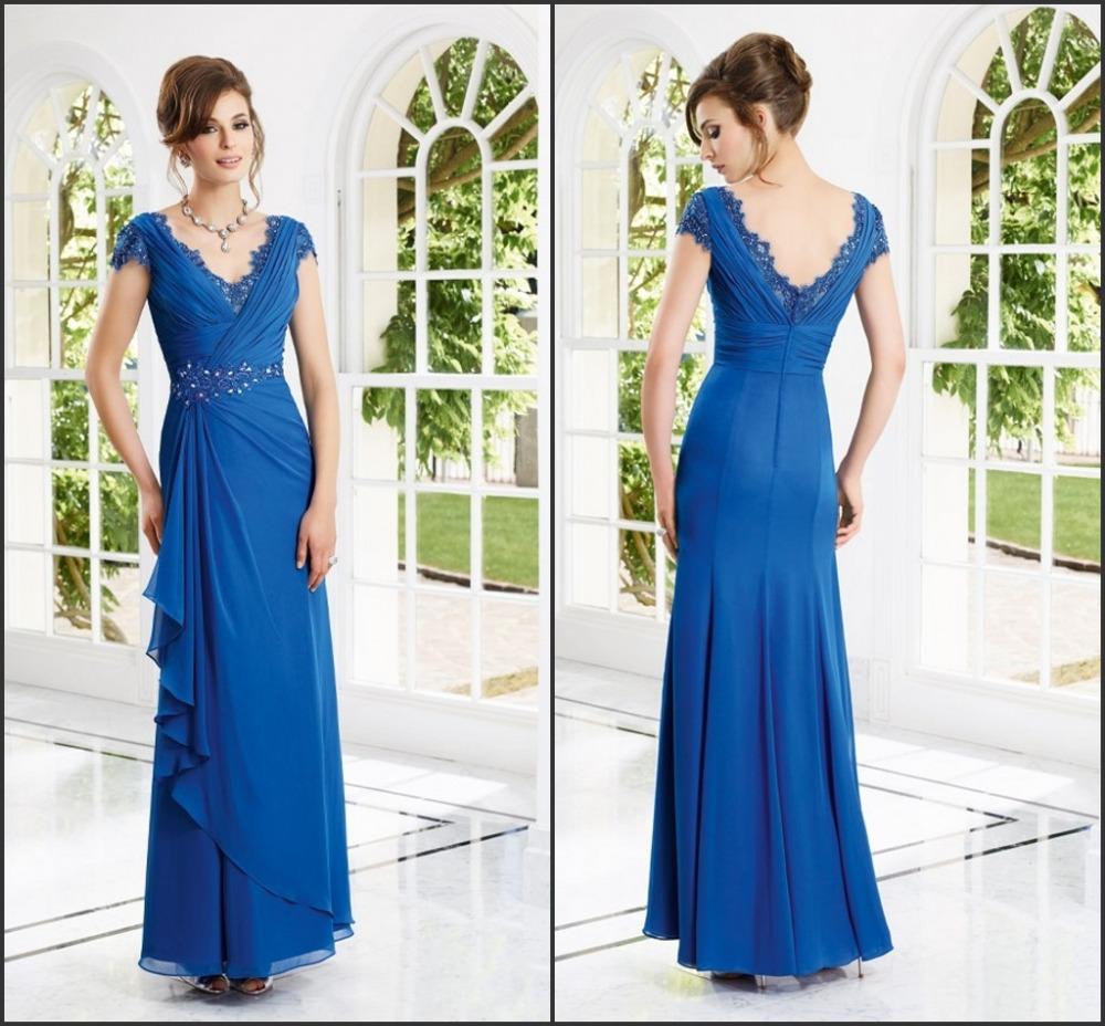 -2014 new blue chiffon dress short sleeve lace beaded -line floor length bridesmaid prom - Earl -end custom clothing wedding store