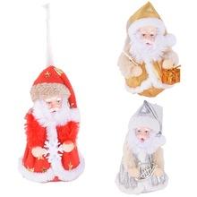 Cute Christmas Santa Claus Doll Toy Christmas Tree Ornaments Christmas Decoration For Home Christmas Gift 3 Colors(Random Style)(China (Mainland))