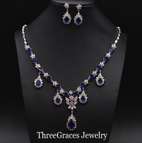 Elegant White Gold Plated Water Drop Sapphire Blue CZ Diamond Big Bridal Jewelry Sets Women Wedding JS076