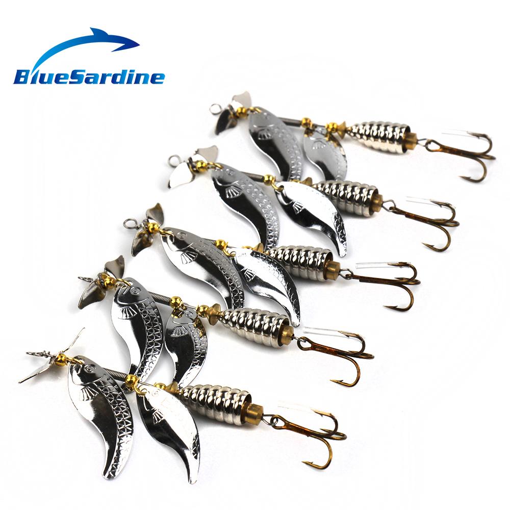 BlueSardine 5PCS 15G 10CM Metal Spinner Bait Fishing Lures Spinnierbaits Fishing Tackle(China (Mainland))