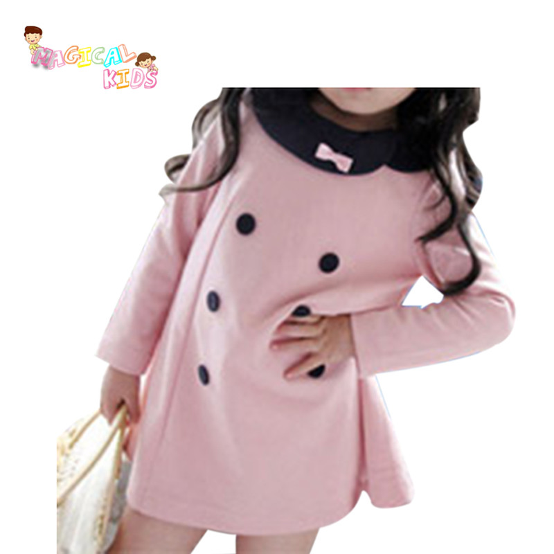 New Spring and Autumn Retail Girls Princess Baby Girl Dress Kids Children pink Dresses Elegant Double-breasted Bowknot Dress(China (Mainland))