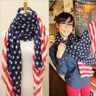 Free shipping star American fashion elegant all matching stripes flag 160 * 70 cm long chiffon scarf