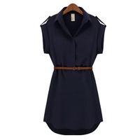 Nuovo stile di estate delle donne del vestito di stile europeo manica corta loose women vestito chiffon solid abiti vestito sottile delle donne più il formato