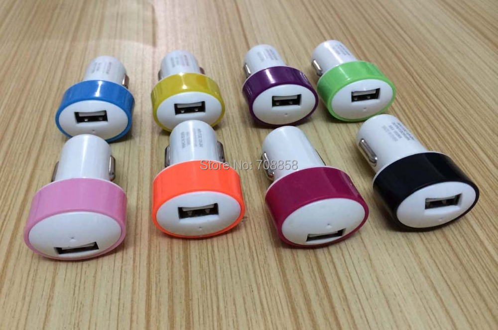 1000mAh Universal Color Mini USB Car Charger For IPhone 5s For Samsung Adaptor,high quality 500pcs/lot free ship dhl(China (Mainland))
