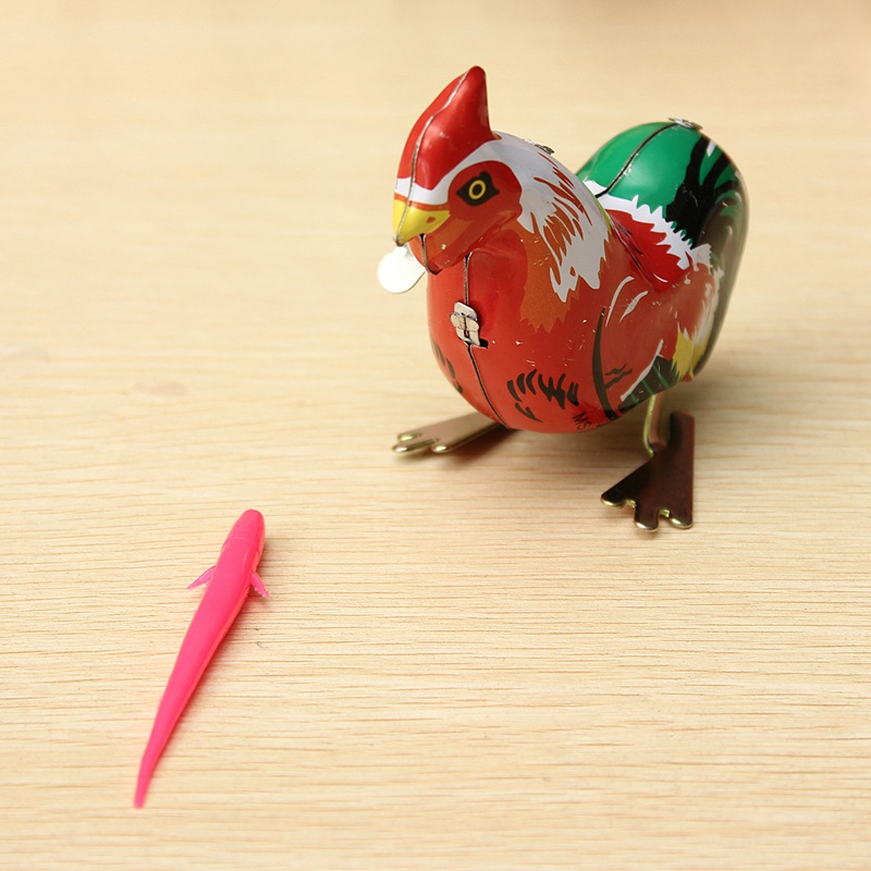 Hot Sale Vintage Clockwork Wind Up Cock Rooster Tin Toys Perfect Collectable Gift Kids Favors Classic Toys For Children(China (Mainland))