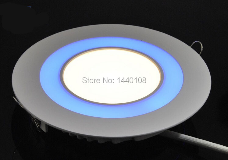 (5pcs/lot )15w White+Blue Double Color round LED Panel Light Kitchen/Restaurant Ultra Bright LED Ceiling Lamps by dhl(China (Mainland))