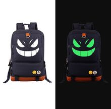 Pokemon GO Black Gengar luminous Backpack PU Shoulders Bag Laptop Bag Schoolbag