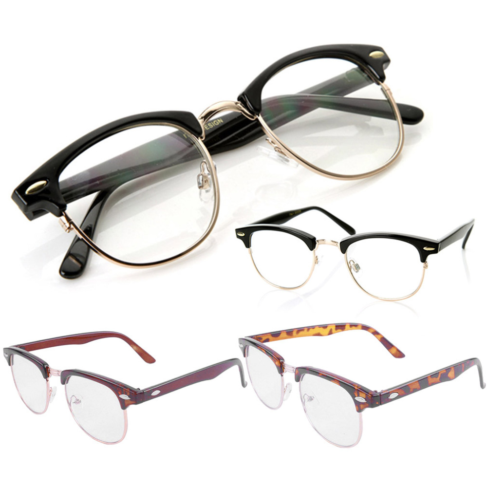 Old Glasses Frames New Lenses : Newest Vintage Inspired Classic Half Frame Horn Rimmed ...