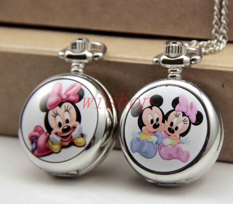 New 10 pcs Cartoon Popular Mickey Minnie Necklace Pocket Watch Children Cartoon Puzzle Toys Watch Boy Girl Gift HB-20(China (Mainland))
