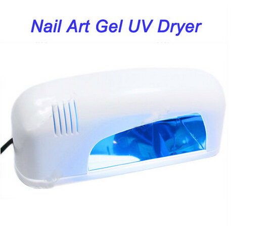 Free shipping,110/220v EU US Plug white 9w uv gel curing UV Lamp Dryer lamp nail art machine kit with A 9w uv bulb(China (Mainland))