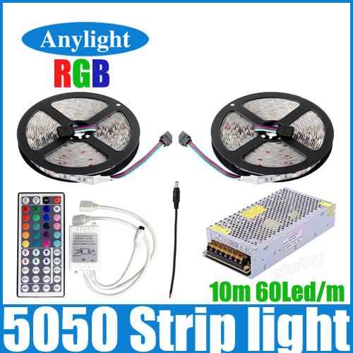 10m rgb led strip 5050 No-waterproof 600 leds flexible smd strips +44 key ir remote controller+dc 12v 10a power supply WLED58(China (Mainland))
