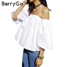 BerryGo Summer 2016 Sexy off shoulder white blouse shirt Ruffles slash neck cotton girls blouse Women tube top tees short blusas(China (Mainland))