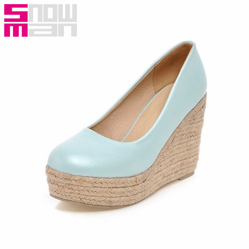 New Wedges Shoes Patent Women Pumps High Heels Platform Shoes Woman Big Size 33-43 Zapatos Mujer Spring 2016 Women Shoes
