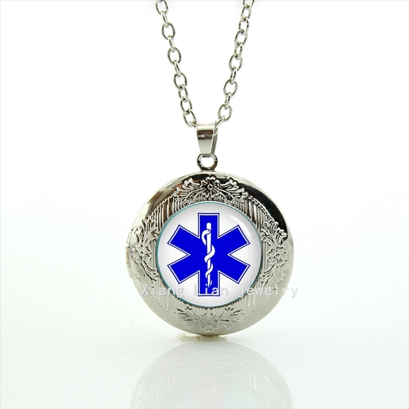 The high quality oddly shaped picture accessory blue star of life locket necklace wedding groom gift T807(China (Mainland))