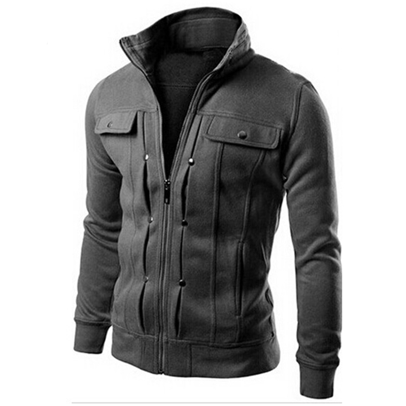 2016 Brand Men Sweatshirts Jacket Winter Solid Fashion Sweatshirt Zipper Design Jacket Coat Men's Sportswear Pocket Black,EDA147(China (Mainland))