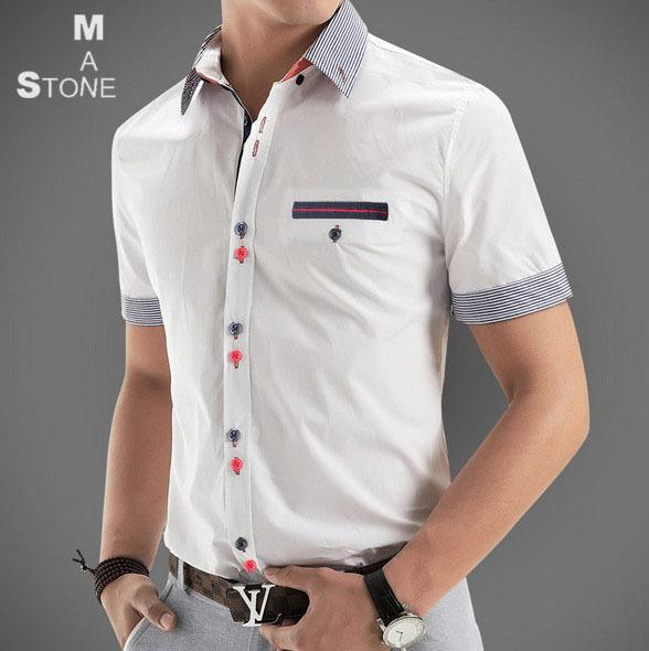 2015 Spring Brand Mens Short Sleeve Dress Shirts Men Fashion Patchwork Casual camisa slim fit Men