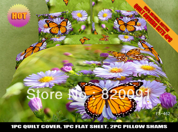 3D Oil Painting Beautiful Green Bedding Set Duvet Cover Set For Spring 4Piece for Full/Queen Bed, Lilac daisy & Butterfly