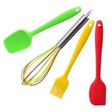 Cooking Tools 4pcs/set Silicone Kitchen Utensils Set Coating Spatula Spoon Basting Brush Set Balloon Whisk kitchen accessories