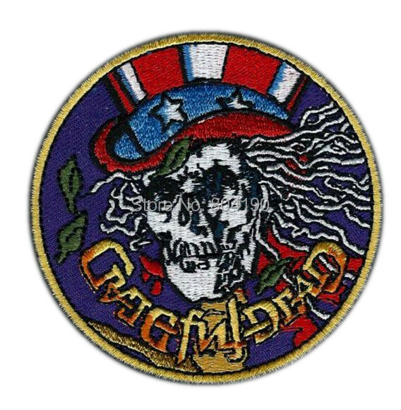 """3"""" Grateful Dead Skull Jerry Garcia rip Logo Music Band Embroidered IRON ON Patch Rock Punk Heavy Metal free shipping(China (Mainland))"""