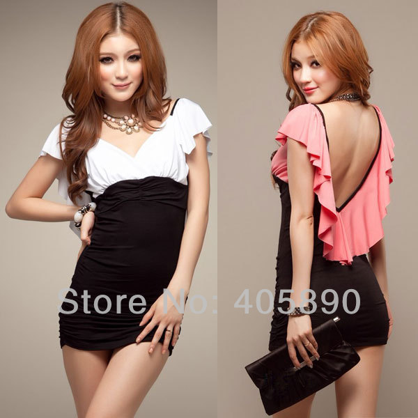New 2014 Summer Low V-neck Lotus Leaf Lace Halter Slim Package Hip Sexy Short Dress(China (Mainland))
