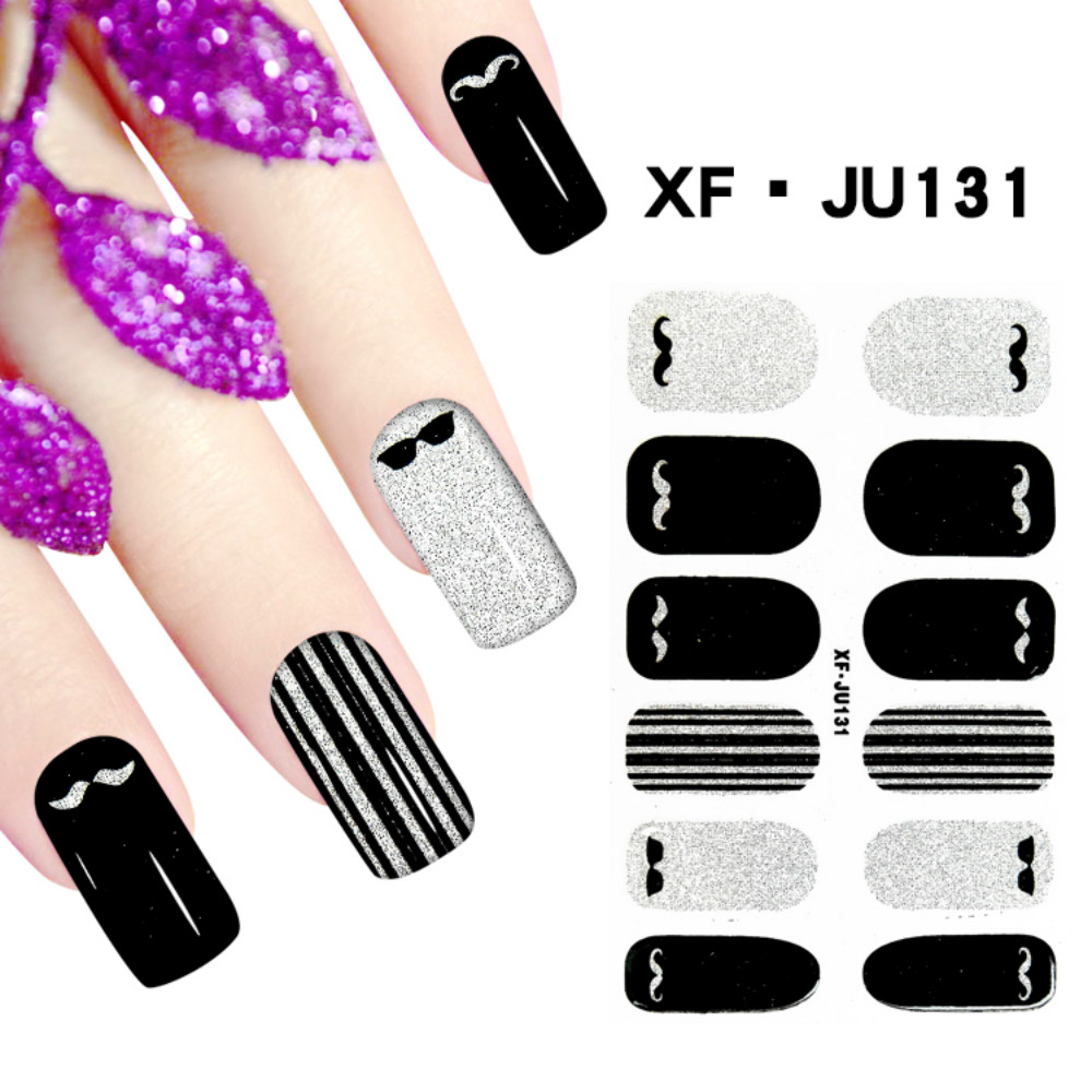 JU131 Free Shipping 3D Full Nail Strips Beautiful Nail Art Stickers With One Nail File Ju131 Buy One Get Two Total 3 Pack(China (Mainland))