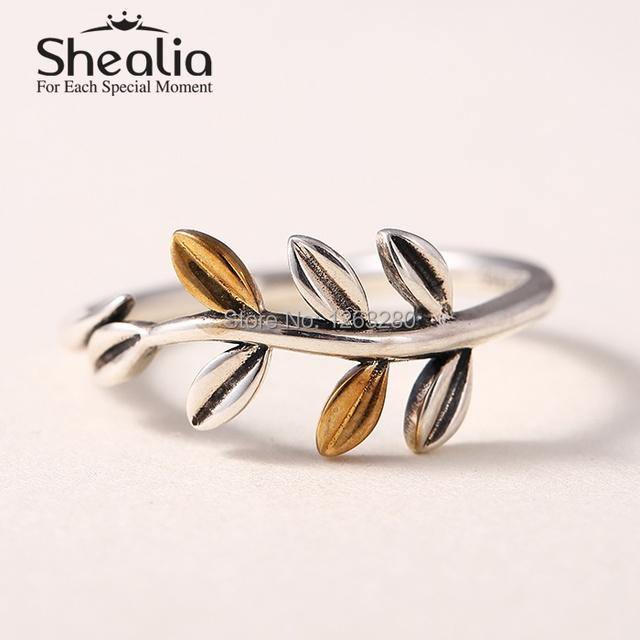 2015 новые листья 925 серебряные и 14 К позолоченные кольца для женщин известный бренд ювелирных изделий SH0567