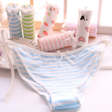 Buy New arrival Cotton Panties Women's Plus Size Underwear Briefs Sexy low-waist Lingerie Intimates Striped Bow Panties for $1.50 in AliExpress store