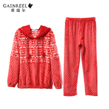 Song Riel winter cartoon couple dot flannel pajamas for men and women comfortable Pyjamas Set Asuna