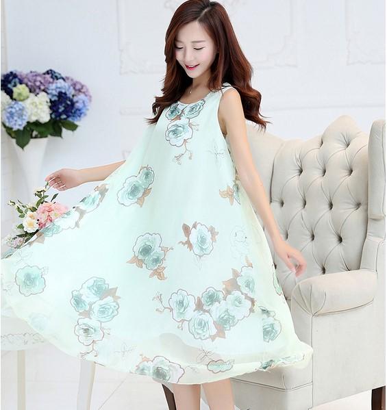 2 Color Pretty Flower Summer Silk Print Dress Maternity ...