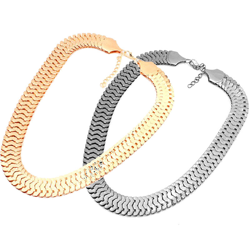 2 Colors Necklaces Fashion Luxury Gold Silver Plated Chains Fish Scales Chunky Statement Necklaces Pendants for Women Jewelry(China (Mainland))