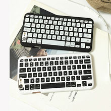 Black & White Keyboard Print Dull Polish Hard PC Back Cover Coque For iPhone 5S 6 6S Plus SE Mobile Phone Case Protector YC1884