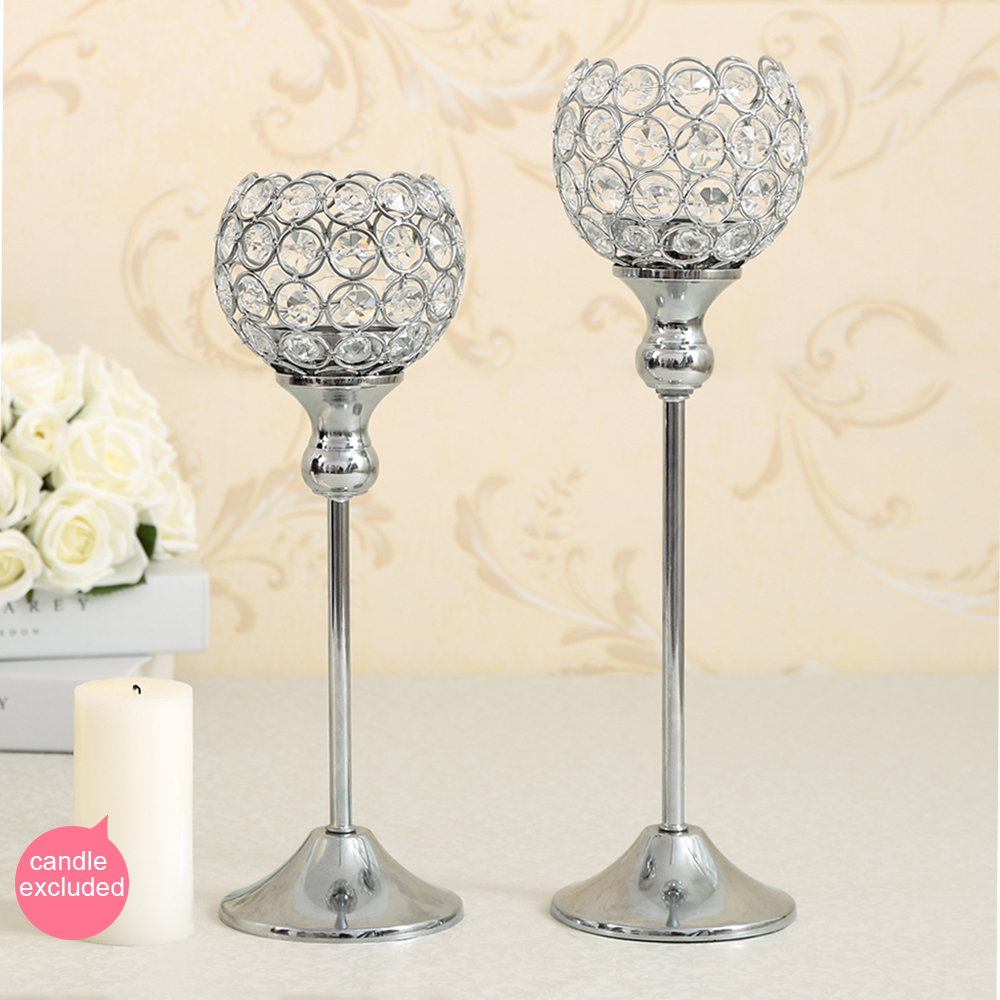 Crystal Table Lamp Metal Tealight Candle Holder for Mother's Day Gift Candelabra Home Decoration Candlestick Set of 2(China (Mainland))