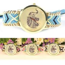 De la mujer relojes Braid diseño moda hermosa modelo Animal del elefante pulsera de la pulsera relojes relojes para mujeres