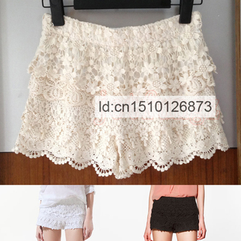 Hot Sale Fashion Women Crochet Embroidery Mini Crochet Lace Tiered Short Skirt Safety Shorts Elastic Waist S~L