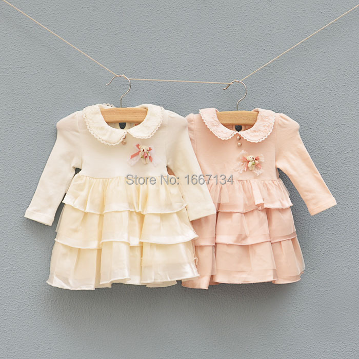 Hot sale cute long sleeve baby dress cotton baby