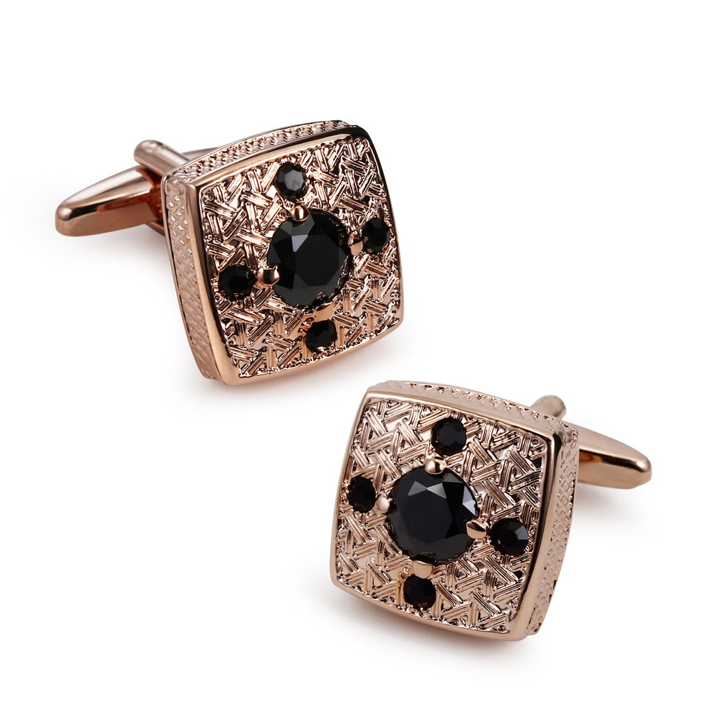 KU Factory Direct High Cubic Zirconia Brass Cufflinks for Men Romantic Design Executive Business Shirt Rose Gold Plated(China (Mainland))