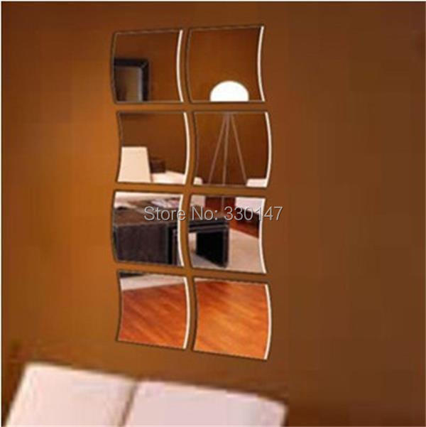 2015 8pcs Square Wave Combination Acrylic Mirror Wall Sticker Home Decor Background TV Modern Decorative Mirrors Direct Selling(China (Mainland))