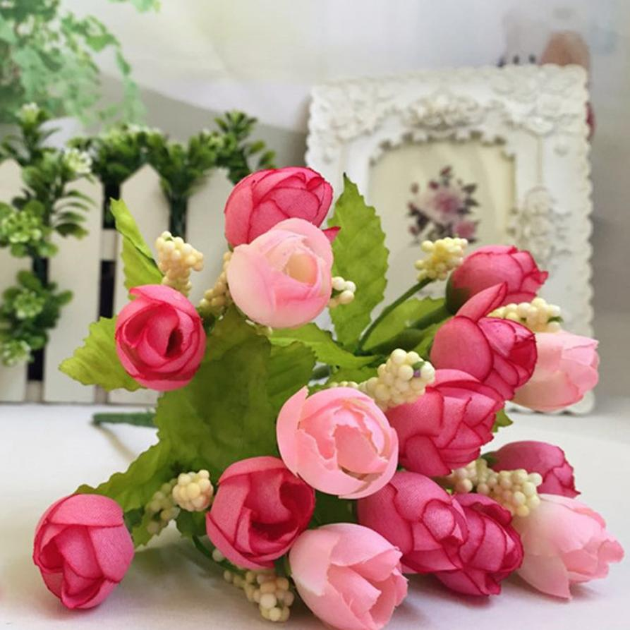 JU 15 Mosunx Business 2016 Hot Selling 15 Heads Unusual Artificial Rose Silk Fake Flower Leaf Home Decor Bridal Bouquet(China (Mainland))