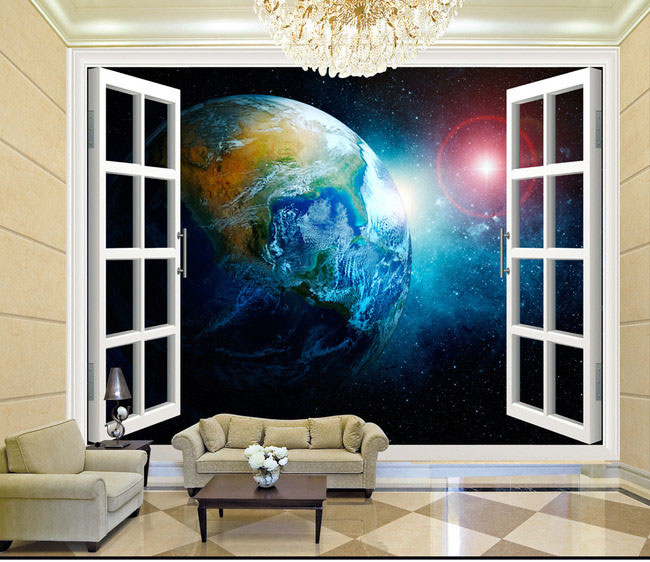 3d stereo window planet earth from outer space for Outer space wallpaper for bedroom