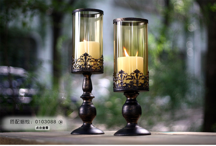 Metal Pillar Candle Holders : Pcs set iron metal candle holder with glass cover