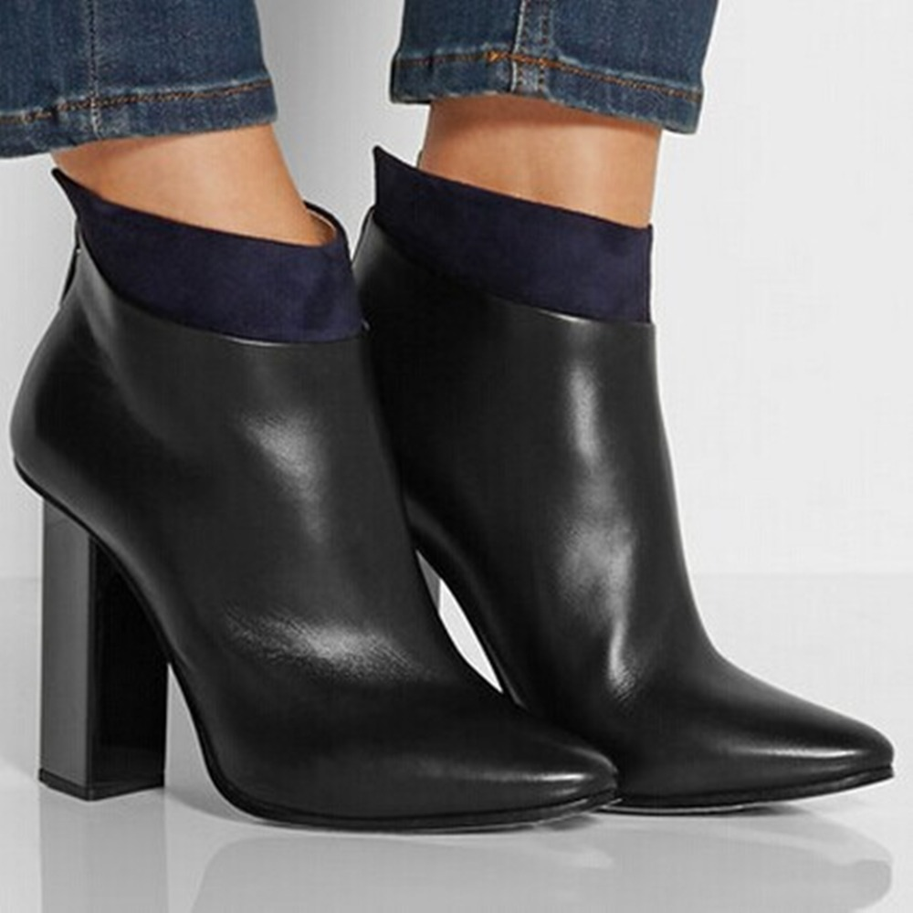 2014  Genuine Leather Womens Pointed Toe Square Heel Ankle Boots with Zipper<br><br>Aliexpress