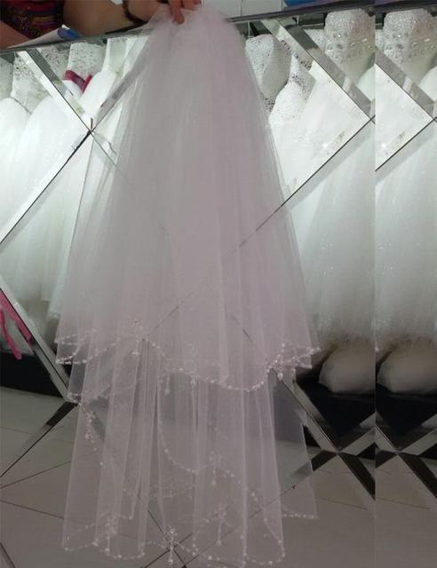 Фаты с кристаллом бусины края элегантные покрова для продажи вело де novia двухслойная ...