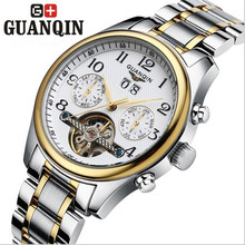 Top business style GUANQIN proof mechanical hand wind water whirlwind fashion leisure thin steel watches men luxury brand watch