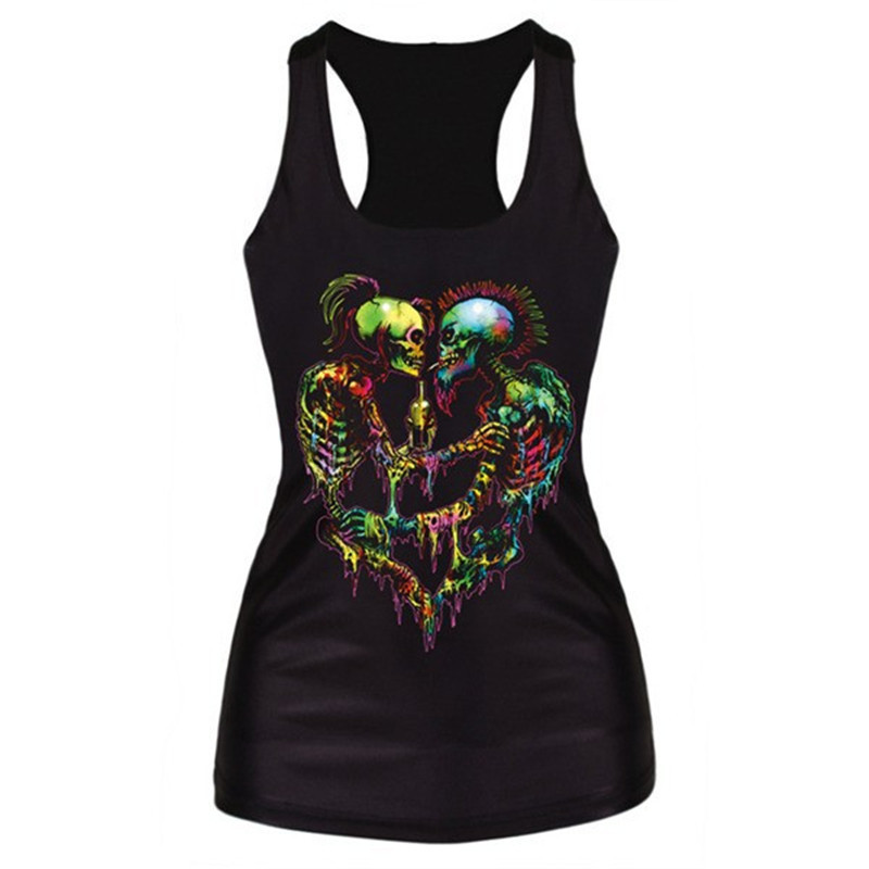 Women's Terror Ghost Graphic Bodycon Camisole Sleeveless Tee Blouse T-Shirt Vest 1 PY(China (Mainland))
