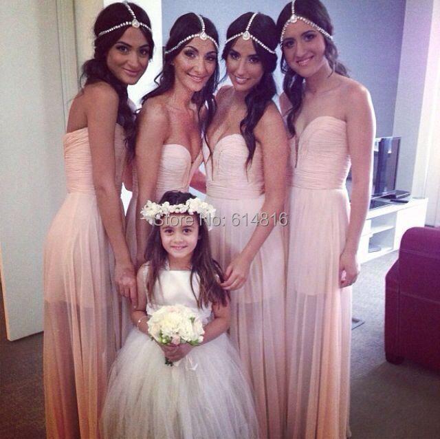 Vestido de Madrinha Casamento Sexy Open Back Pink Chiffon Long Bridesmaid Dresses 2016 Elegant See Through Wedding Party Dresses