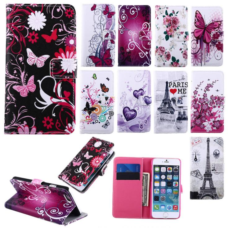 Fashion Leather Butterfly Heart Eiffel Tower Pattern Stand Wallet Cover Flip Case For iPhone 6 4.7 inch Flower Free Shiopping(China (Mainland))
