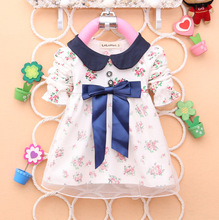 2016 Spring Long Sleeve New Fashion Baby Tutu Girls Cotton Dress Big Bow Belt  Infants Nice Floral Dresses(China (Mainland))